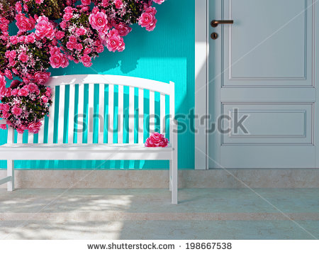 stock-photo-front-view-of-a-wooden-white-door-on-a-blue-house-beautiful-roses-and-bench-on-the-porch-entrance-198667538